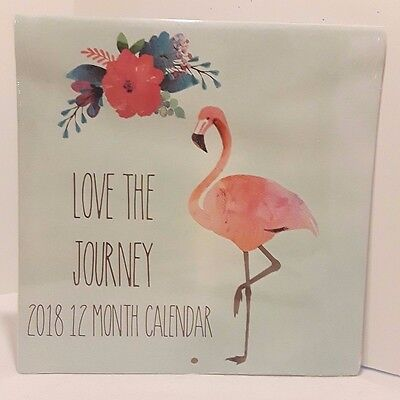 2018 Wall Calendar - Flamingo Love The Journey 12 Month 12x24 Inches Brand New