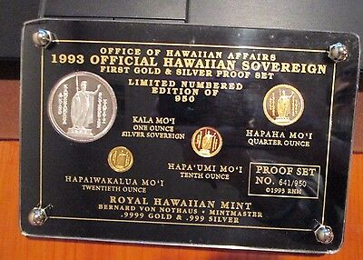 1993 Royal HAWAIIAN MINT Silver +Gold Proof Set Official HAWAII von NotHaus