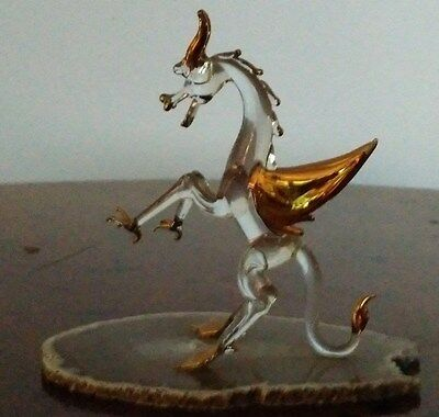 Magnificent Hand Blown Glass Dragon Figurine /12K Gold Gilding on Geode Base