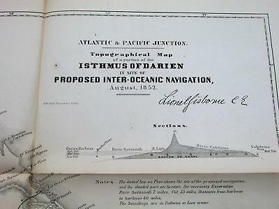 Panama Canal Zone Isthmus of Darien 1852 antique Proposed route US Govt. map