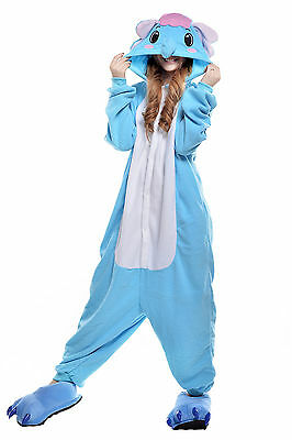 Unisex Adult Animal Pyjamas Cosplay Costume Kigurumi (Blue Elephant XL)