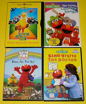 Sesame Street DVD Lot of 4  Follow that Bird Country Songs 2 Elmo (2 Used 2 New)