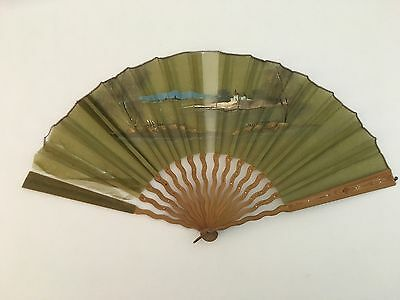 19th Century Large Ladies Green Gauze Hand Fan With Asian Landscape Castle Scene