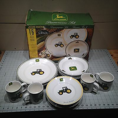 **** John Deere 16 Piece Dish Set by Gibson - Plates - Bowls - Coffee Mugs ****