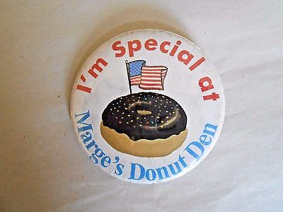 Vintage I'm Special At Marge's Donut Den Advertising Pinback Button