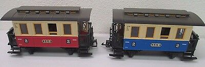 Lot of 2 - LGB 3013 G Scale No. 2 Blue & Red Trolley Cars