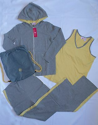 4-Pc Belly Basics Womens Size S Yoga Maternity Clothing Gray Hoodie Pants Active