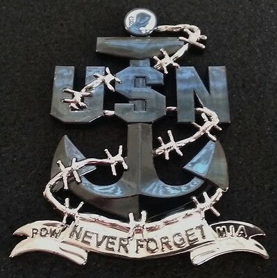 ARE YOU KIDDING ME POW MIA Never Forget USN Barb Wire Anchor BIG Challenge Coin