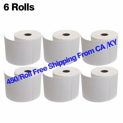 "6 Rolls of 250 4""x6"" Direct Thermal Shipping Labels - Zebra 2844 Eltron 450 USPS"