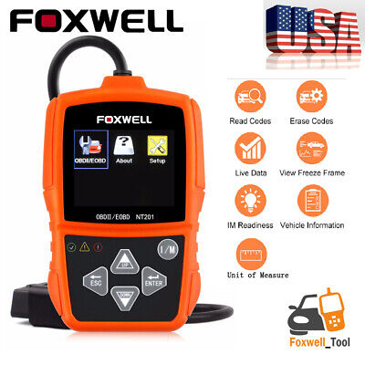 Car OBD2 EOBD Code Reader Scanner One-Click I/M Live Data Diagnostic Tool NT201