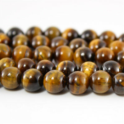 Natural Gemstone Beads Polished Tiger's Eye Stone 4MM 6MM 8MM 10MM 12MM 14MM