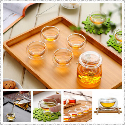 50ML Double-wall Layer Glass Elegant Tea Cup Drinking Heat Resistant