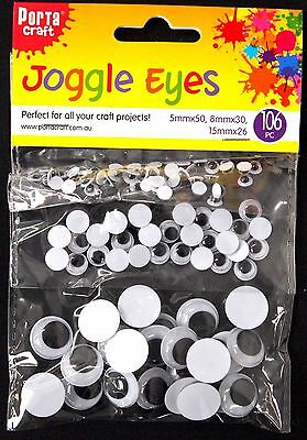 106Pc Assorted Joggly Eyes - Googly Scrapbooking Craft Card Making Hobbies Diy