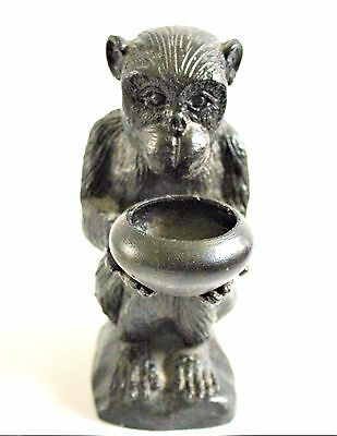"Bronze Monkey Candle or Incense Holder Sculpture Hallmarked 6.5"" tall"