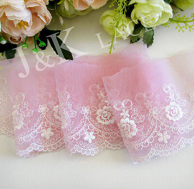 8.5 cm width Pink / White Embroidery Mesh Lace Trim