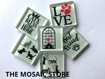 'Cat' Themed Glass Tiles - Mosaic Art Craft Tiles Supplies Scrapbooking