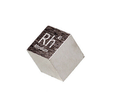 Rhodium Metal 10mm Density Cube 99.95% Pure for Element Collection
