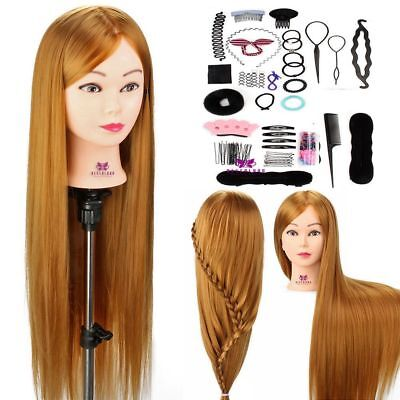 "30"" Synthetic Hair Hairdressing Styling Training head Mannequin Doll + Braid Set"