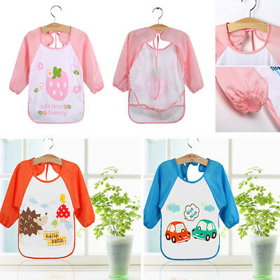 Children Kids Long sleeved Art Smock Cooking School Craft Painting Drawing Apron
