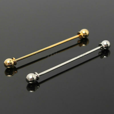 Mens Silver Or Gold Necktie Shirt Tie Collar Pin Tie Clip Clasp Bar Gift 1B UK