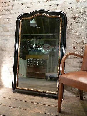 Antique French Ebonised c1880 Gesso and Wooden Framed Mirror