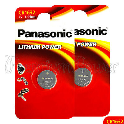 2 x Panasonic CR1632 batteries Lithium Power 3V Coin Cell BR1632 DL1632 Pack 1