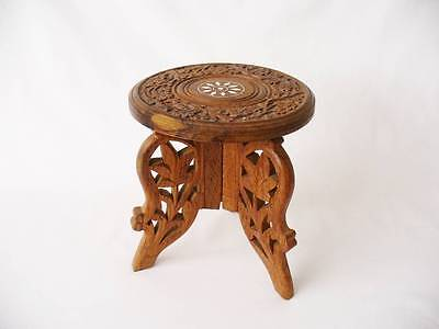 Vintage  Small Wooden  Display Table - Carved / Inlaid Table