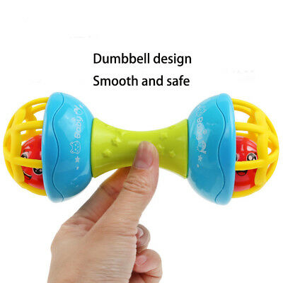 Pop Baby Safe Silicone Rattles Bells Shaking Dumbbell Toy Bell Ball Baby Teether