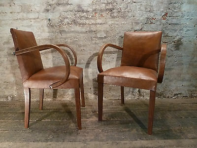 French Leather Bridge Arm Chairs Antique c1940 Vintage Sourced from Paris