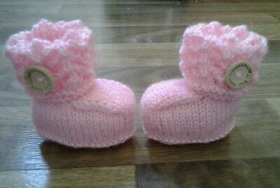 Hand knitted pink lacey top baby booties 0-6 months