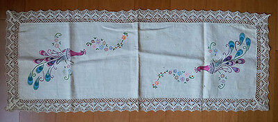 Linen runner with lacy edge, vintage