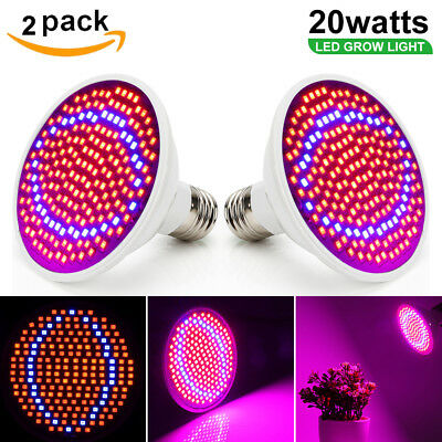 2Pcs 20W E27 LED Grow light Grow Lamp Bulb Flower Plant Hydroponic Red Blue Lamp