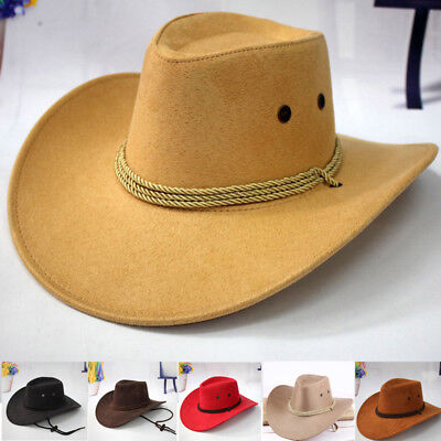 Chic Western Style Cowboy Hat Men Riding Cap Wide Brim Crushable Crimping Gift
