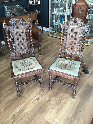 Early 19th Century Pair of Oak Carved and Tapestry Hunting Chairs
