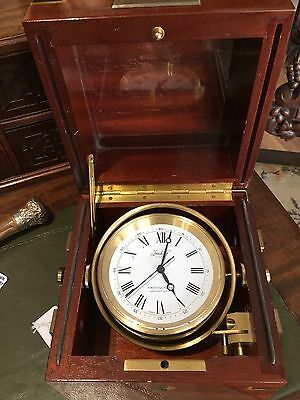 Imhoff Ship's Chronometer / Clock in Mahogany Box with Brass Banding