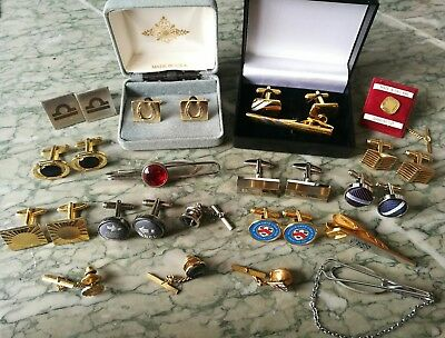 Job Lot Of Vintage And Modern Cufflinks And Tie Pins Etc