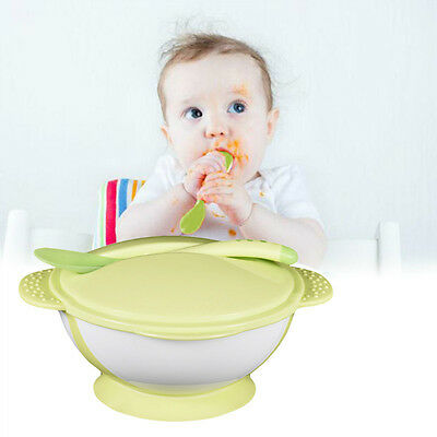 1 Set Baby Kids Child Toddler Suction Bowl Temperature Spoon Feeding Tableware