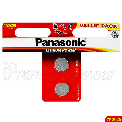 2 x Panasonic CR2025 batteries Lithium Power 3V Coin Cell DL2025 BR2025 EXP:2026