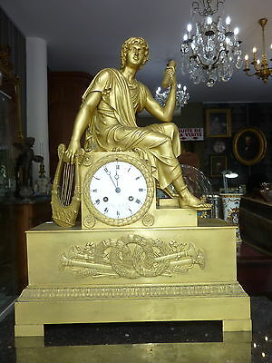 Pendule Bronze Dore Empire Apollon French Gilt Bronze Mantel Clock