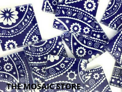 Blue Paisley Patterned Handmade Glass Tiles 2.5cm - Mosaic Tiles Supplies Craft