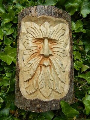 Wooden Green Man Carving - Hand Carved Half Tree Log - Man Of The Woods Design