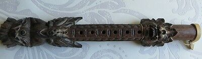 Unusual Carved Heavy Wooden Asian Flute Clarinet Instrument Demons Chinese?