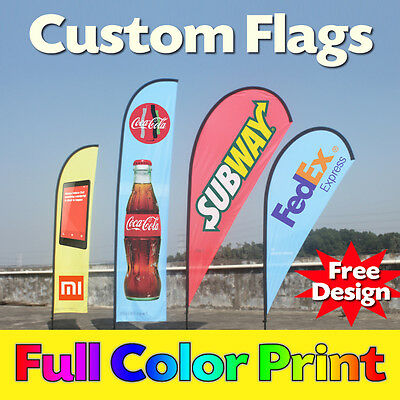 Custom Full Color Printing Teardrop Feather Flags Flying Banners - No Hardware