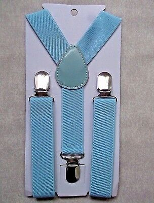 New Pale Blue Boys Girls Classic Clip On Braces Suspenders Adjustable Age 2-6