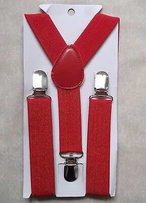 New Bright Red Boys Girls Classic Clip On Braces Suspenders Adjustable Age 2-6