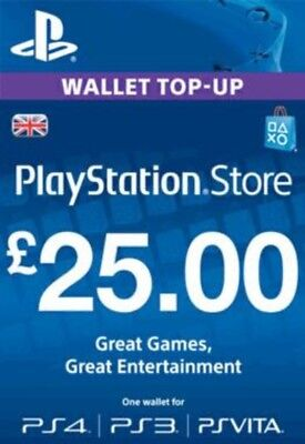 Playstation Network Card £25 (In Paperform) (PS3 / VITA / PS4) - PS4 Brand New