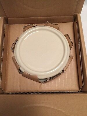 """Longaberger Pottery Woven Traditions - Ivory  4"""" Pillar Candle Holder New"""