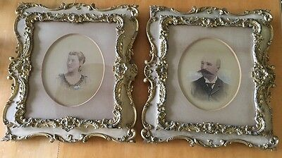 Antique PAIR VICTORIAN Ancestral PORTRAITS Circa 1800's