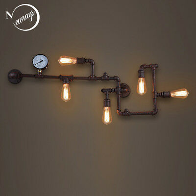 Steam Punk Iron Rust Water Pipe Wall Lamp Sconce Lights E27 LED Lighting Fixture