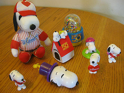 "Lot of 8 Peanuts Snoopy 2"" figure 7"" Whitman Baseball"